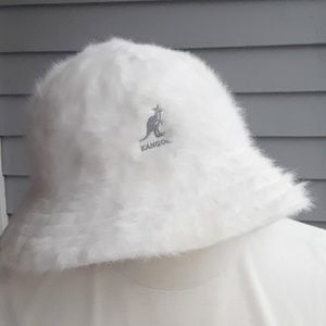 Kangol White Angora Bucket Hat, Medium